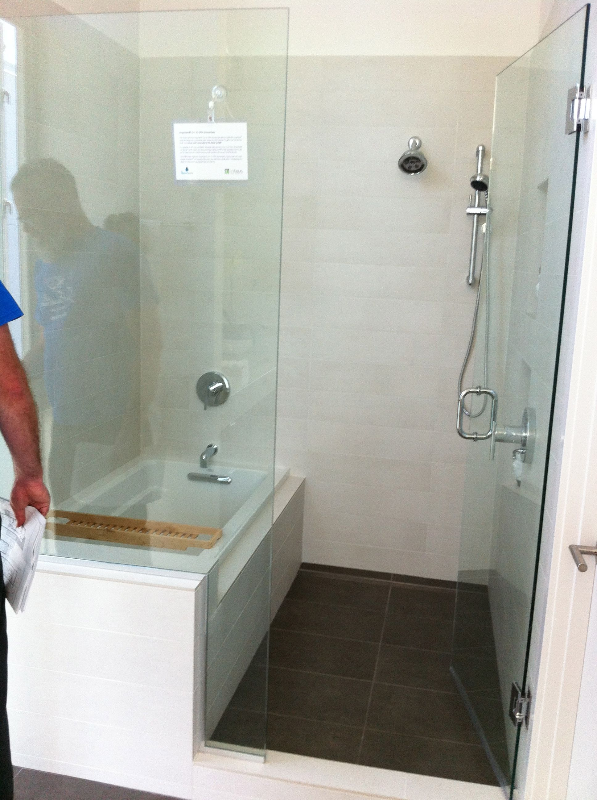 corner rectangle bathtub and walk in shower combo with swinging glass door - Bathtub Shower Doors