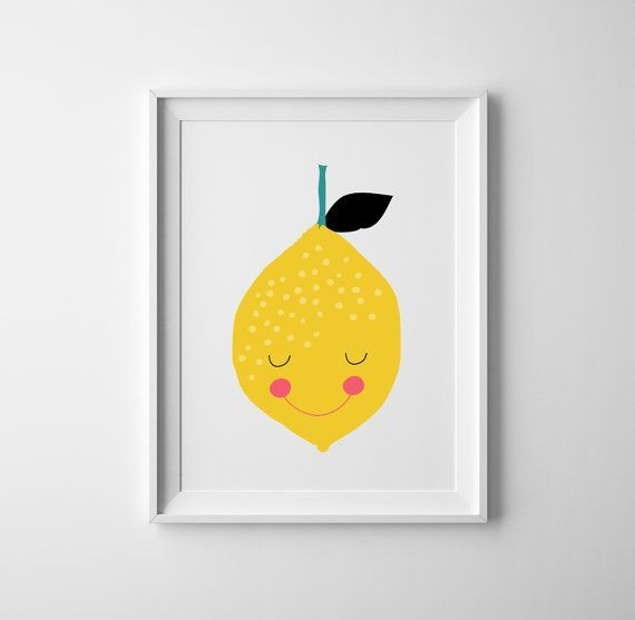 Baby nursery print lemon, lemon nursery wall art, lemon scandinavian ...