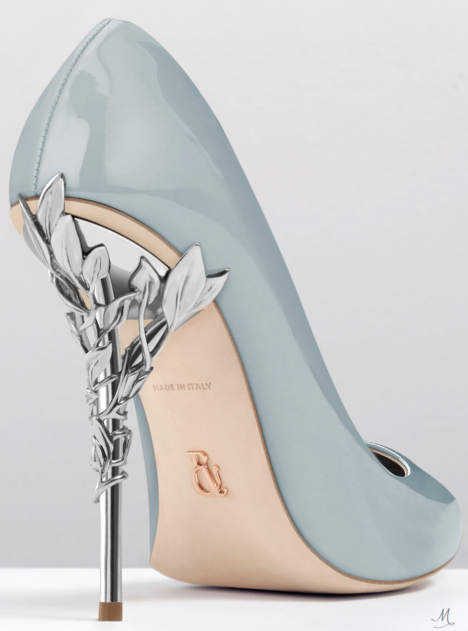 RALPH   RUSSO EDEN HEEL PUMP SKY BLUE PATENT WITH SILVER