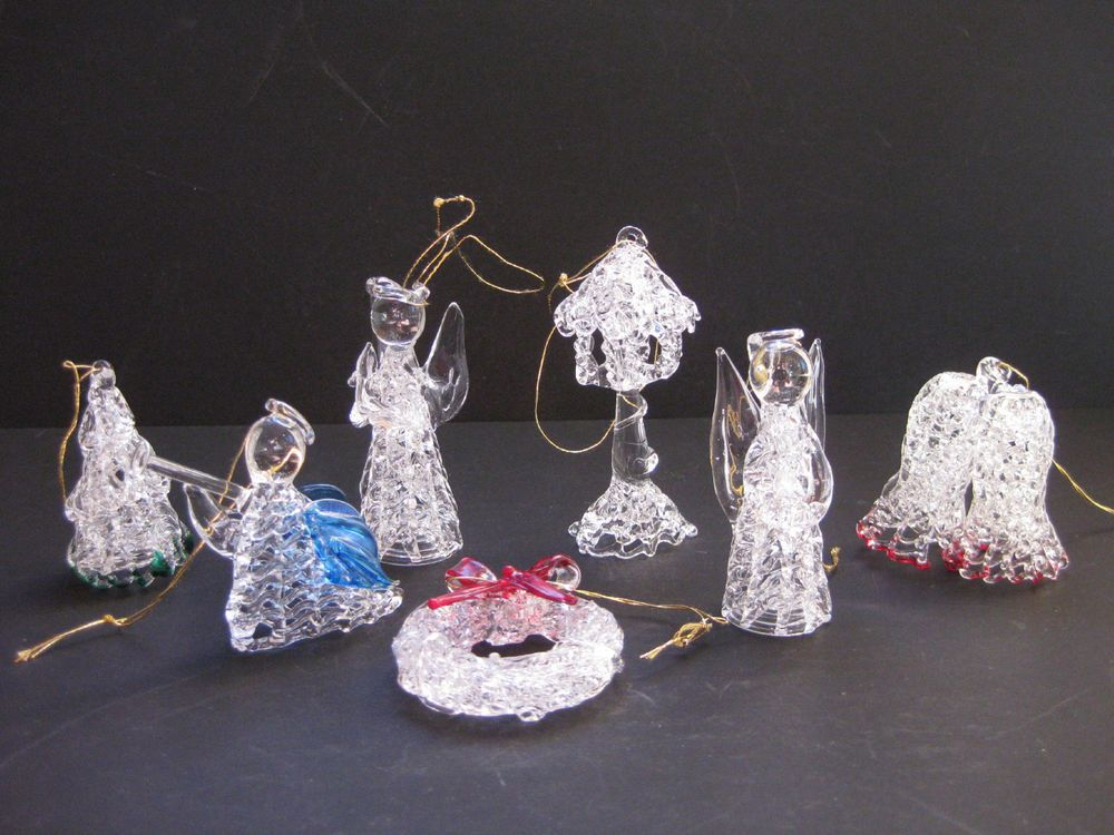 Vintage Hand Blown Spun Glass Crystal Christmas Ornament Lot 7 Angels Bells  Tree