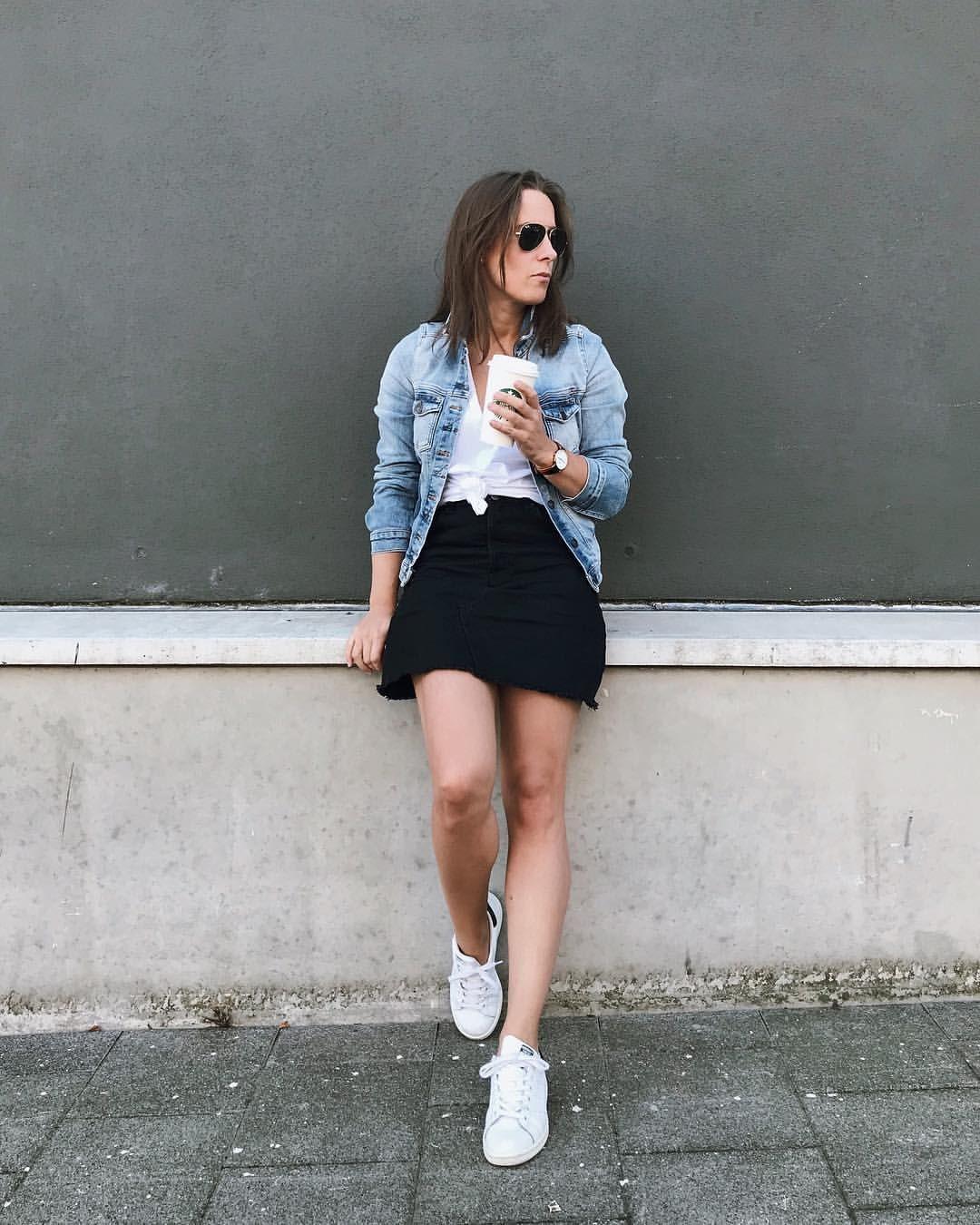 Outfit Denim Jacket White Knotted Basic T Shirt Black Denim Skirt Aviator Sunglasses White Sneakers Brands Zara Sneakers Outfit Black Skirt Outfits Skirts [ 1350 x 1080 Pixel ]