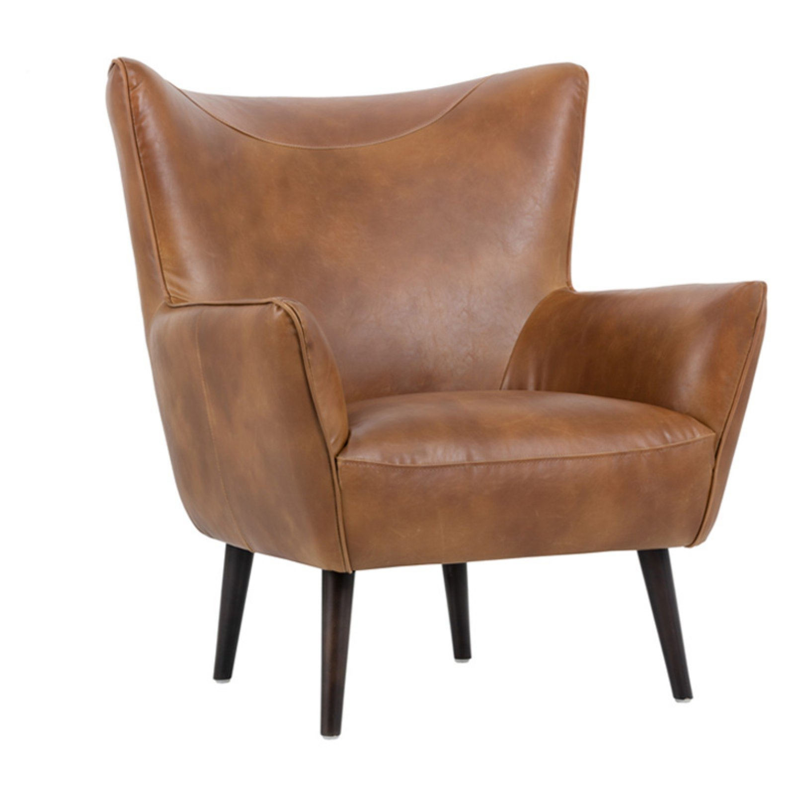 Sunpan Luther Accent Chair Tobacco Tan Leather Accent Chair