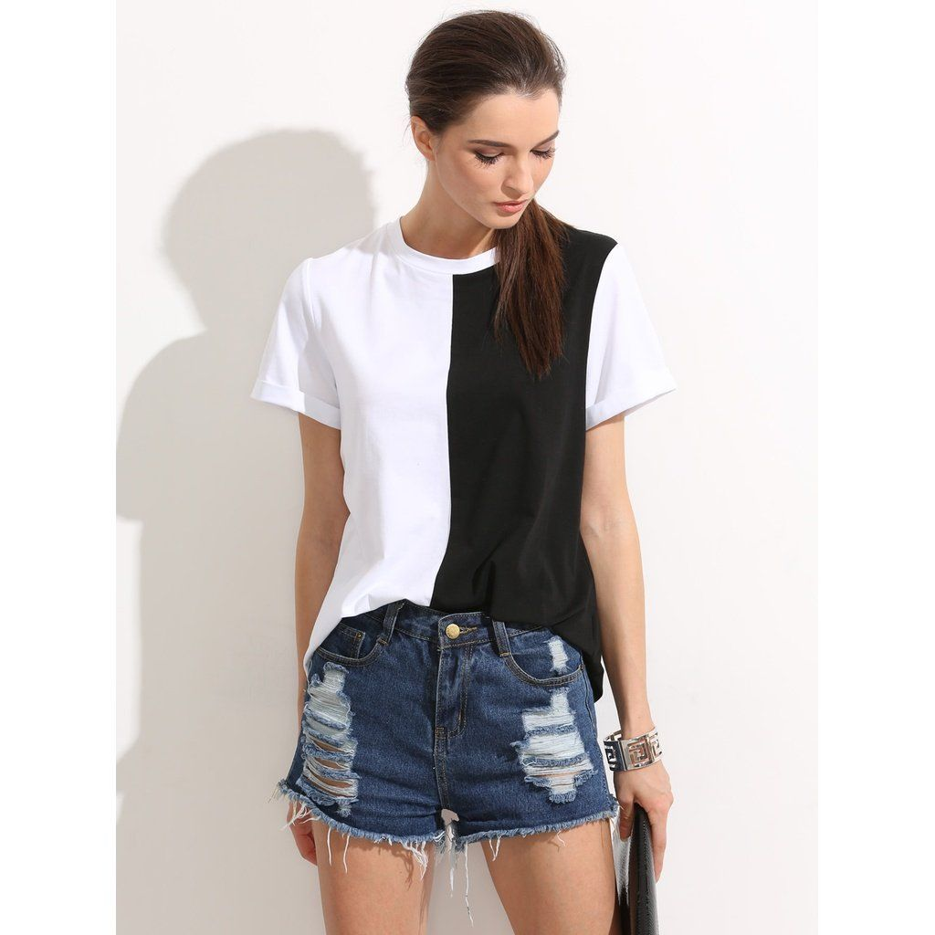 Colorblock rolled up sleeve tee colorful shirts roll up
