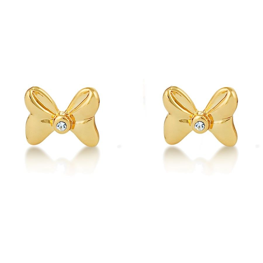 Minnie Mouse Rocks Gold Bow Earrings By Disney Couture Tiny Gold Plated Minnie  Mouse Bow