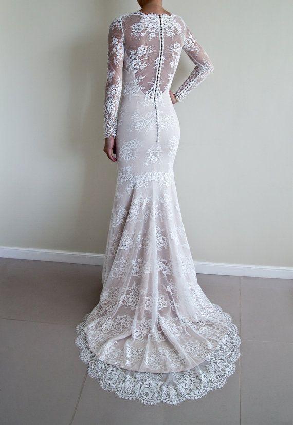 Diese Trompete Silhouette Hochzeitskleid hat Illusion Spitze ...