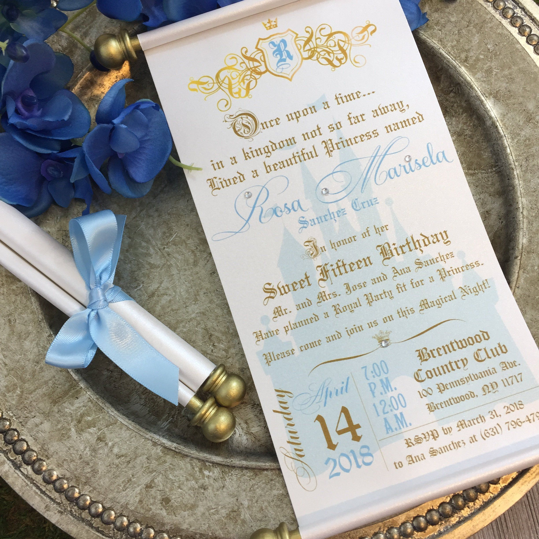 Princess Sweet 16th Birthday Scroll Invitation Cinderella Inspired