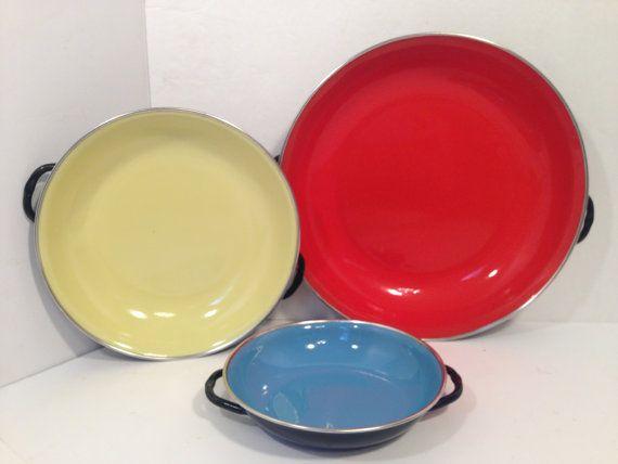 Three set 3 Retro Vintage Paella Pans.Metal by UptownJazzyjunk