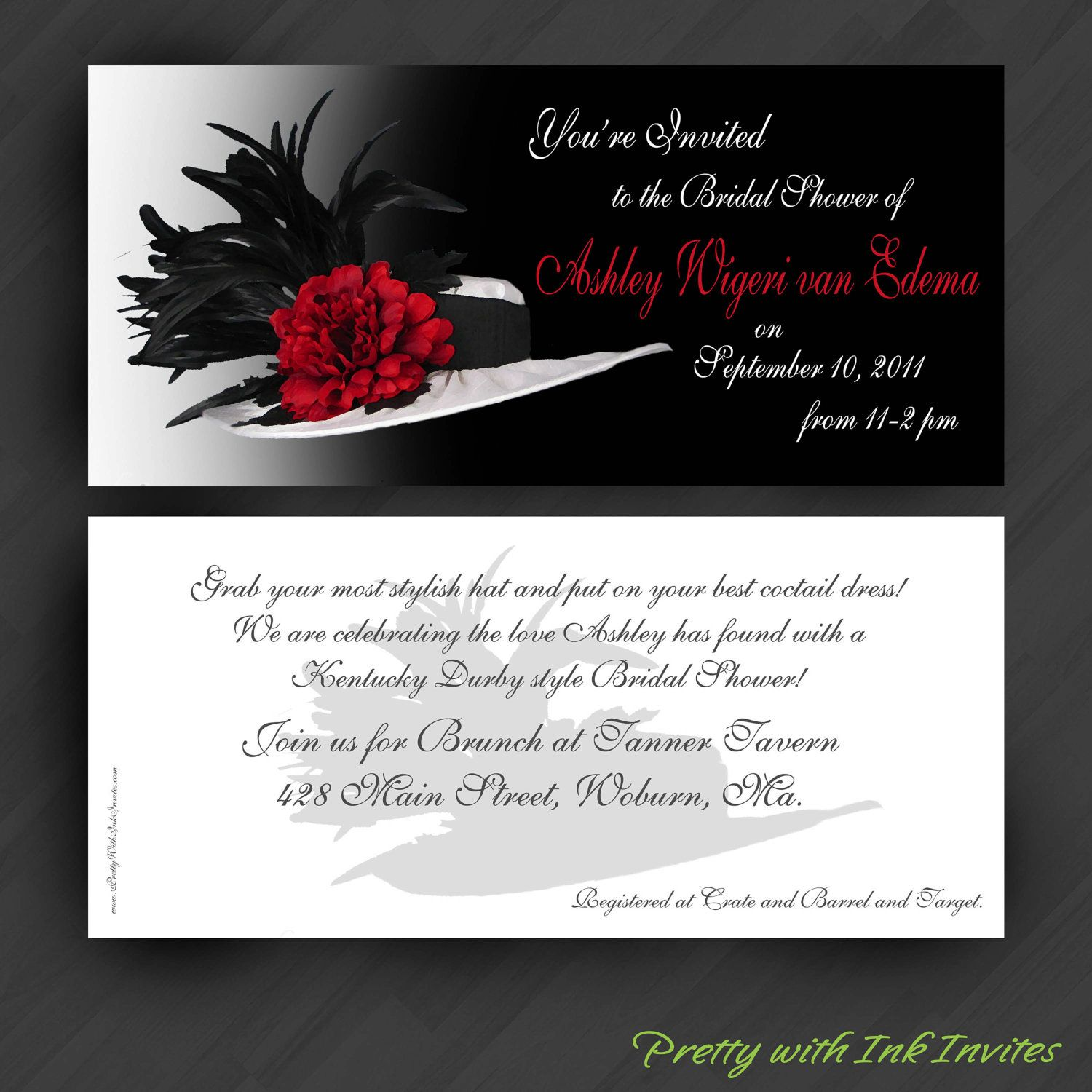 Bridal Shower/Birthday/Hat Party Invitations - love the wording ...
