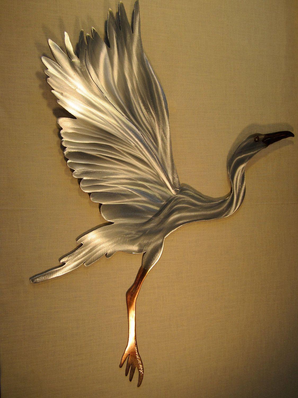 snowy egret heron crane coastal steel decor marine marsh wetlands