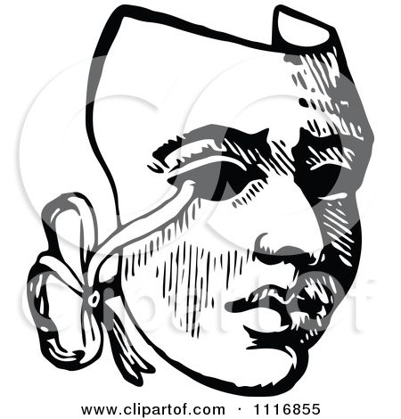 Clipart Of A Retro Vintage Black And White Drama Theater Mask Royalty Free Vector Illustration By Prawny Free Vector Illustration Theatre Logo Theatre Masks