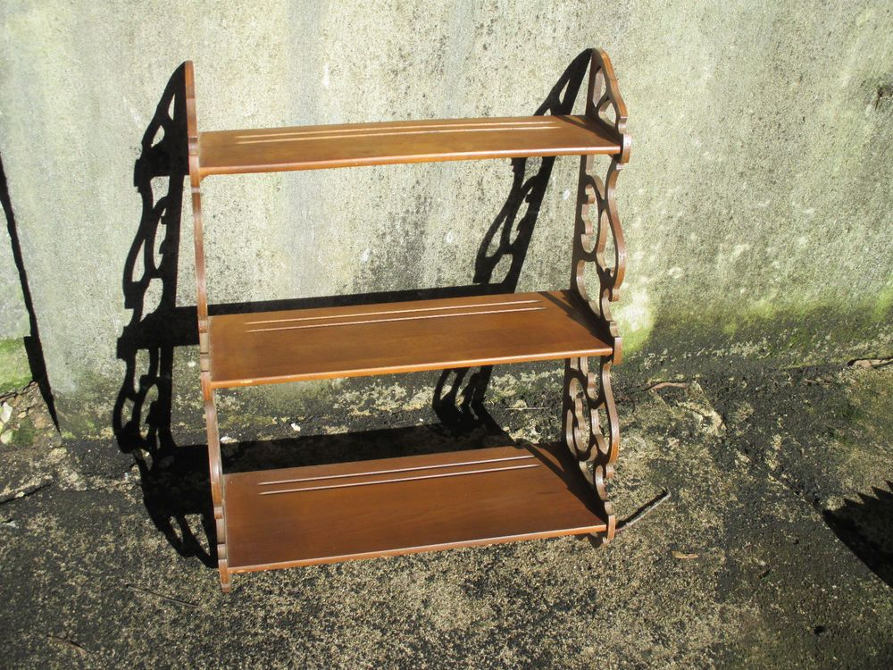 Wall Shelf Butler Wood Ornate Scroll Sides Plate Groove Vintage 3 Tier Curios