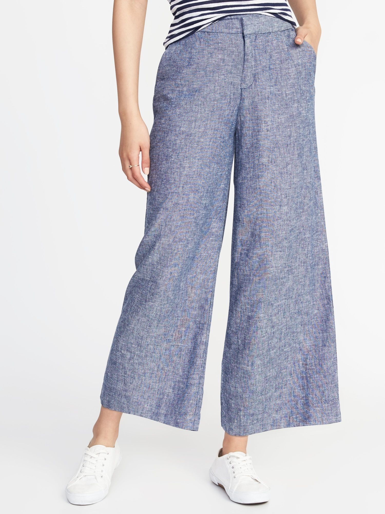 3b5f1a4493 High-Rise Linen-Blend Wide-Leg Cropped Pants for Women |old-navy ...