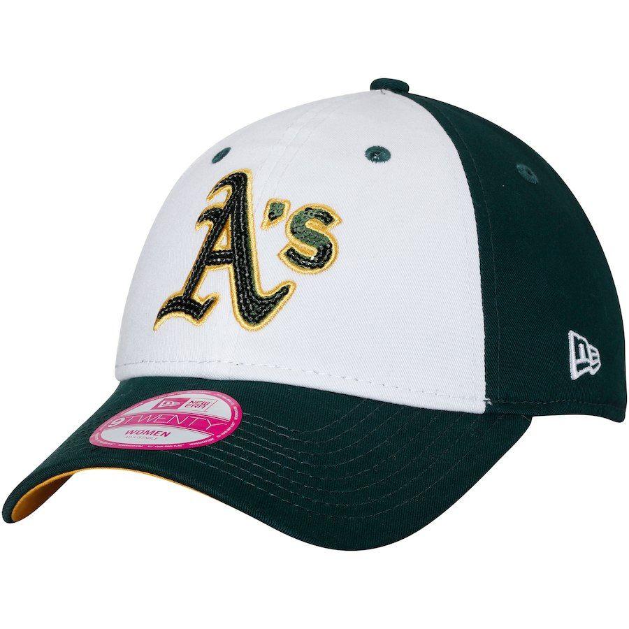 Women s Oakland Athletics New Era White Green Team Glimmer 9TWENTY  Adjustable Hat e491f22b2e