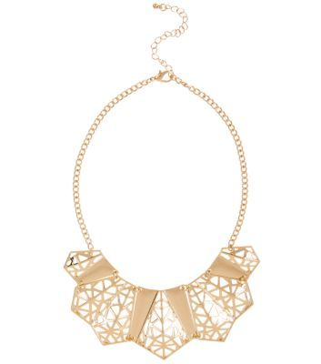 Gold Geo Cut Out Necklace