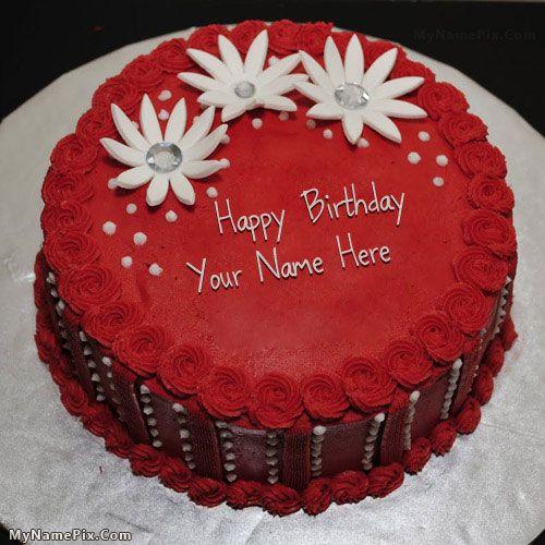 name on Red Elegant Birthday Cake happy birthday cake with name