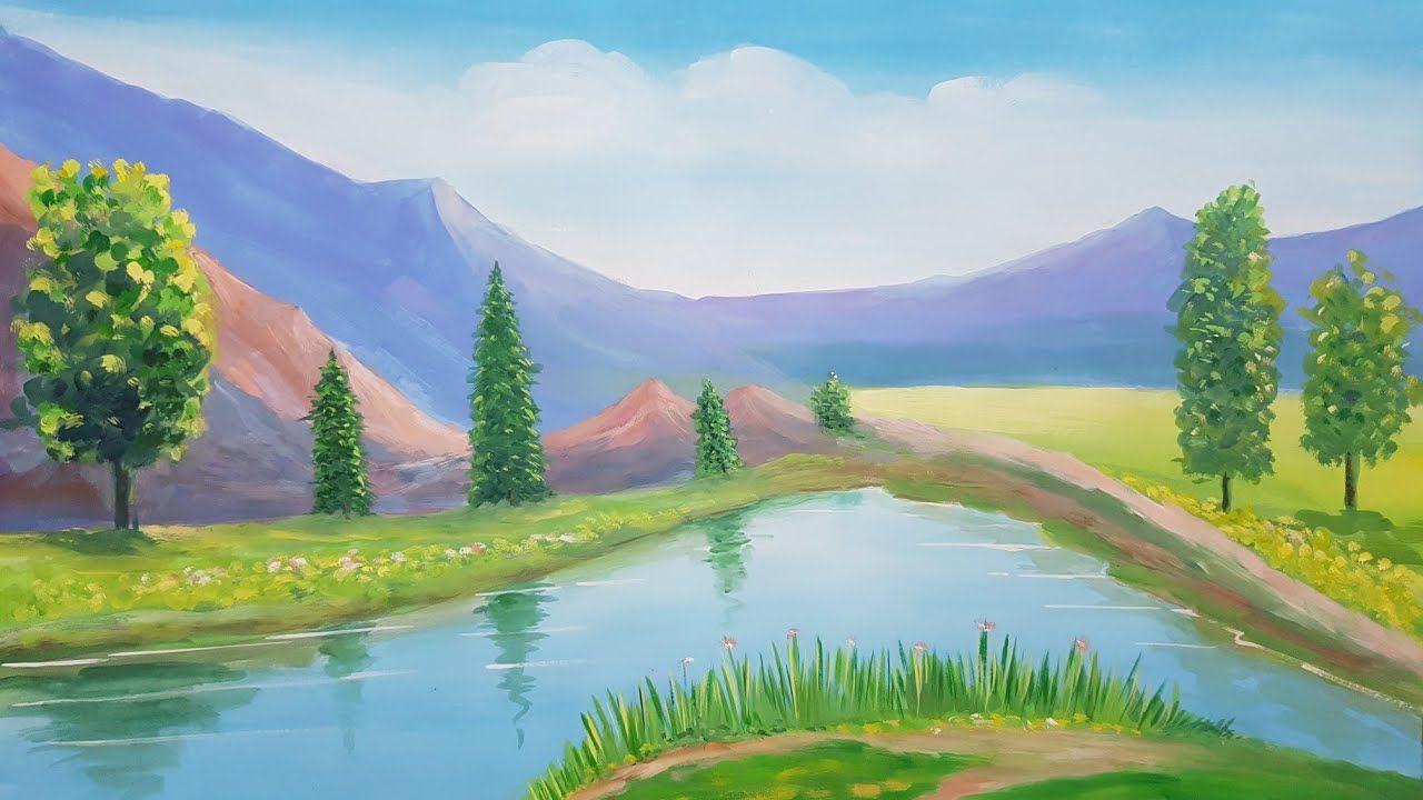 How To Paint Poster Colour Landscape Art Canvas Colorful Landscape Landscape Art Scenery