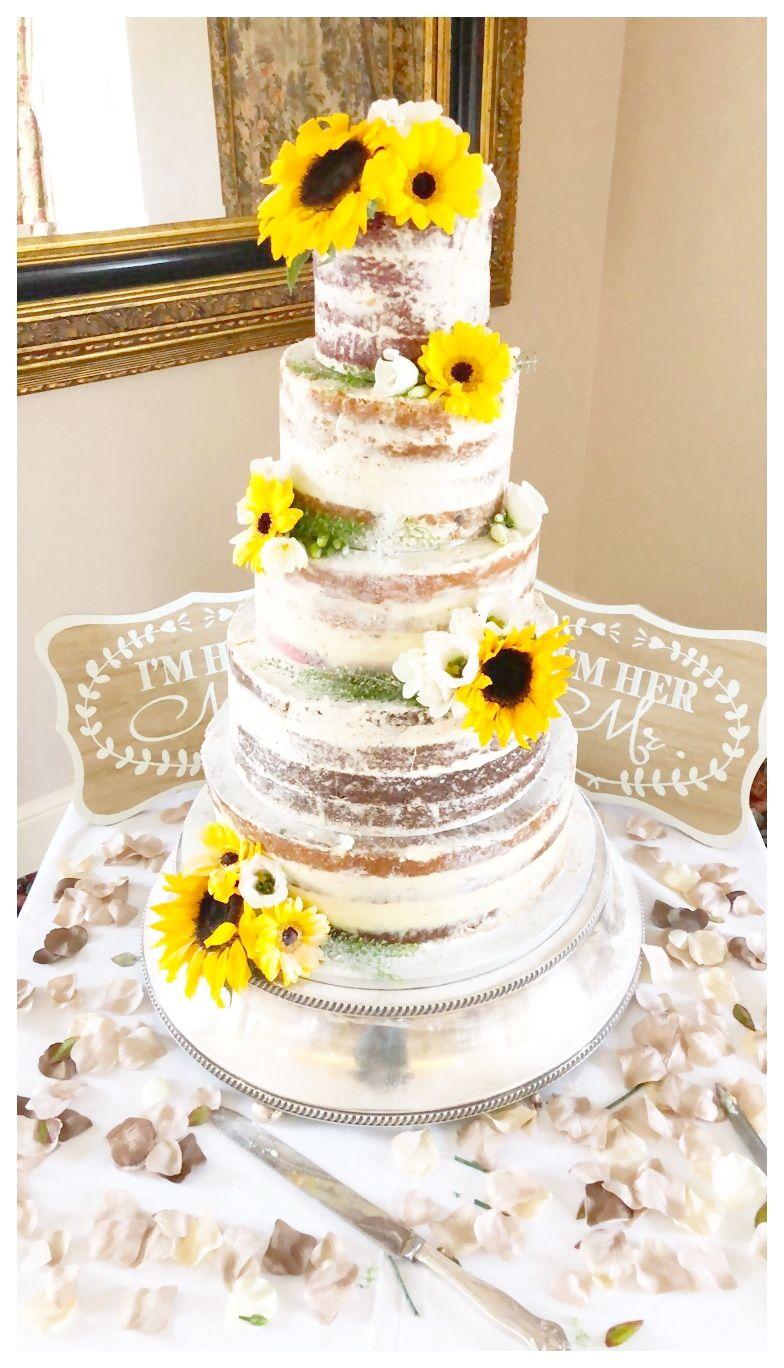 Semi Naked Wedding Cake with fresh flowers set up at Mount Pleasant ...