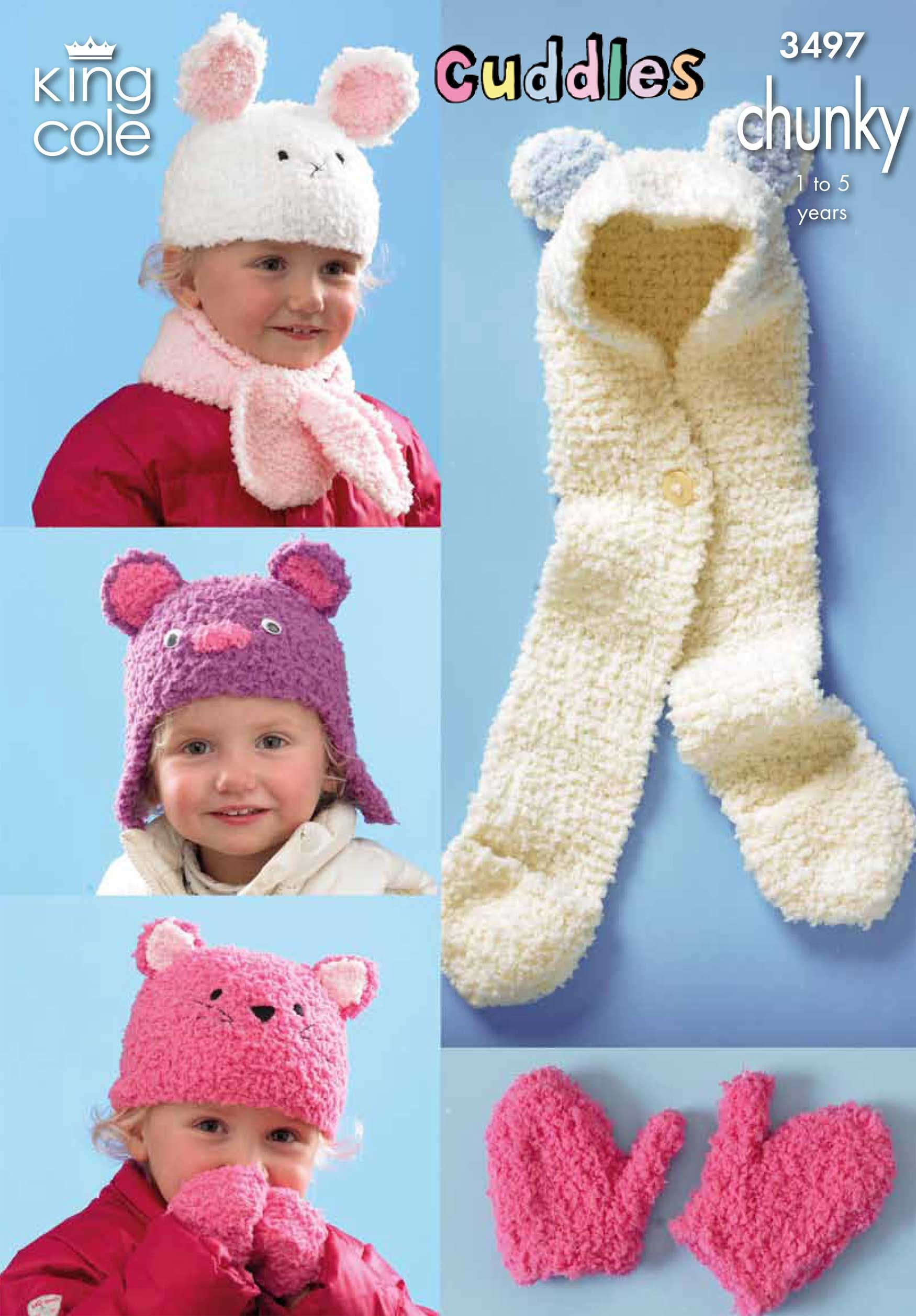 3497 | Knitting Patterns | Kid\'s Hats, Mittens and Scarf | King Cole ...