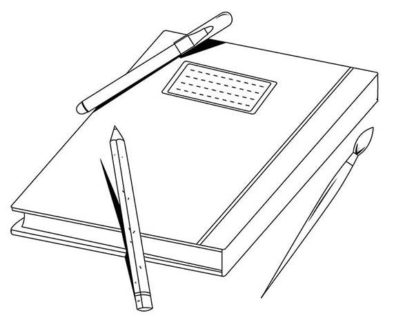 Exercise Book And A Pen Coloring Page Coloring Sun Coloring Pages Exercise Book Coloring Books
