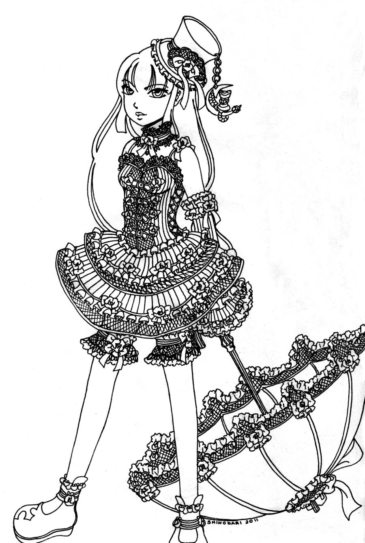 Gothic Alice, lineart by Shinodari.deviantart.com on @DeviantArt