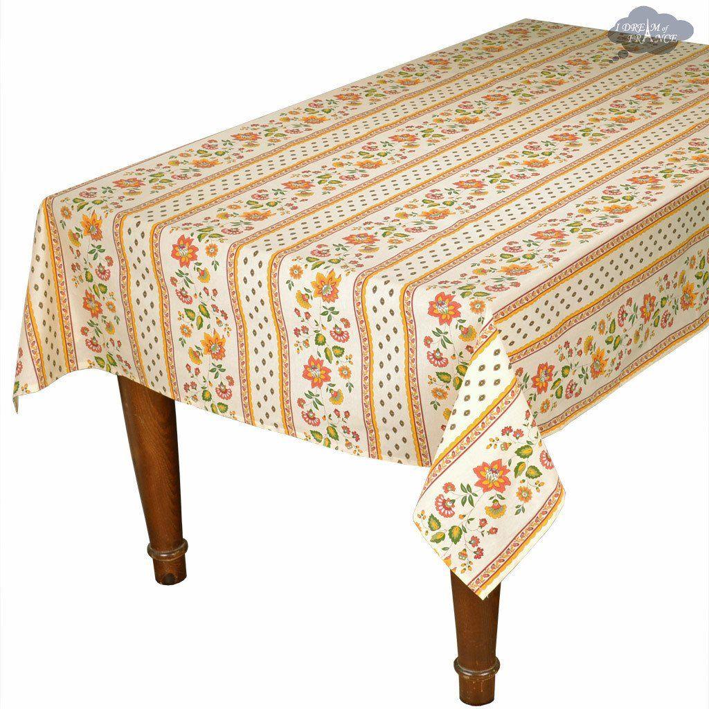 60x132 Rectangular Fayence Cream Cotton Coated Provence