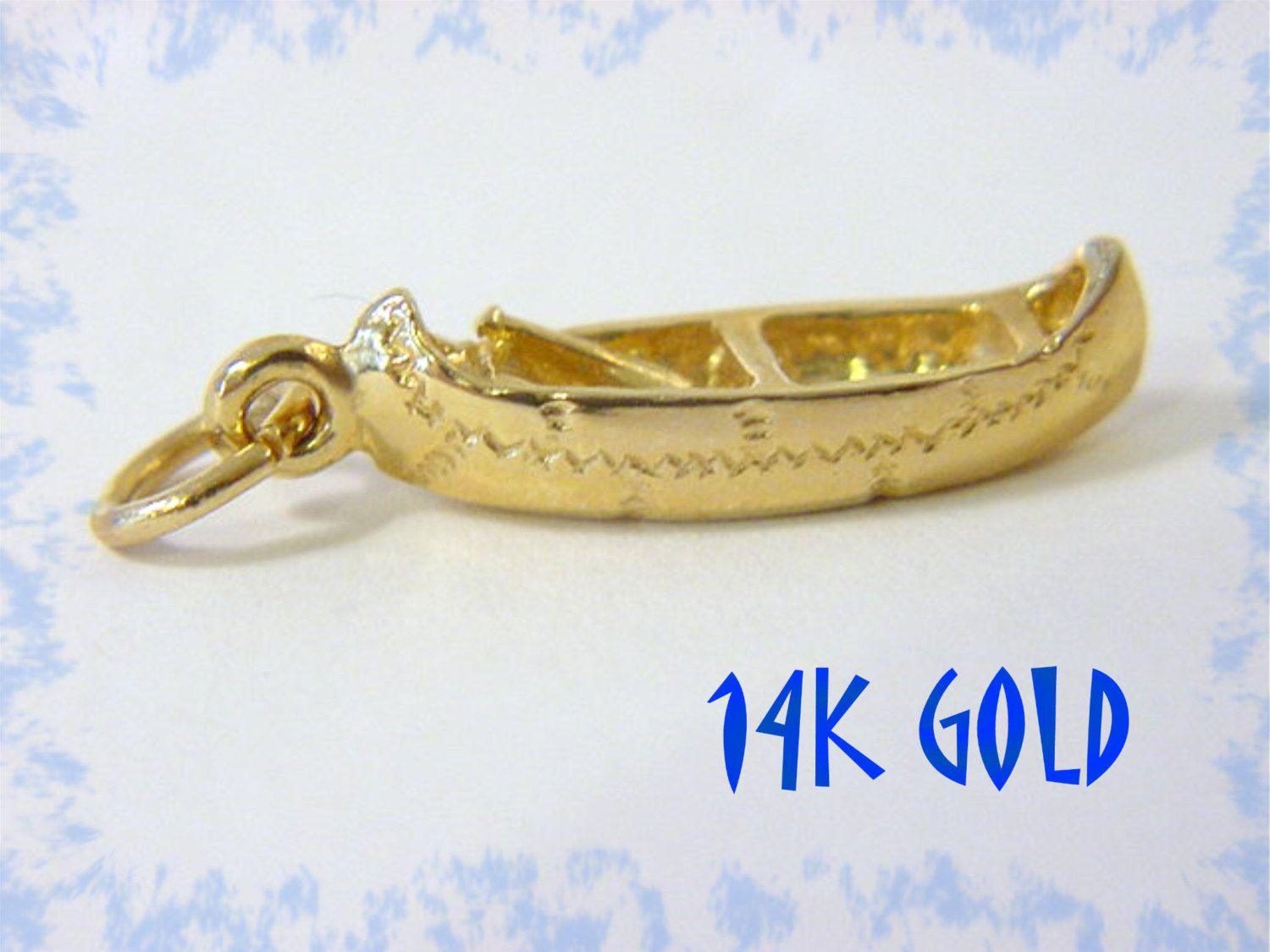 14K Gold Indian Canoe Charm Pendant Native American Birch