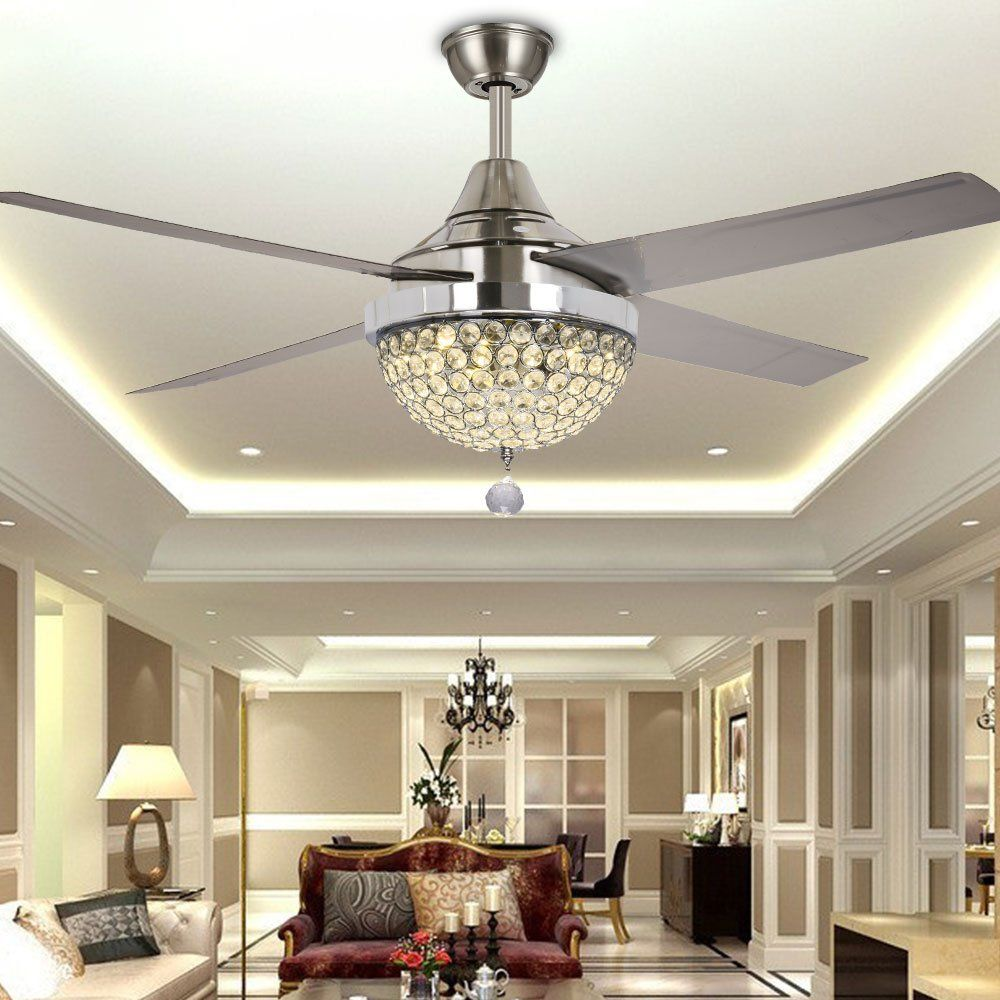 Tiptonlight modern crystal chandelier ceiling fan lamp folding tiptonlight modern crystal chandelier ceiling fan lamp folding ceiling fans with lights chrome ceiling fan with light dining room decorative with remote aloadofball Choice Image