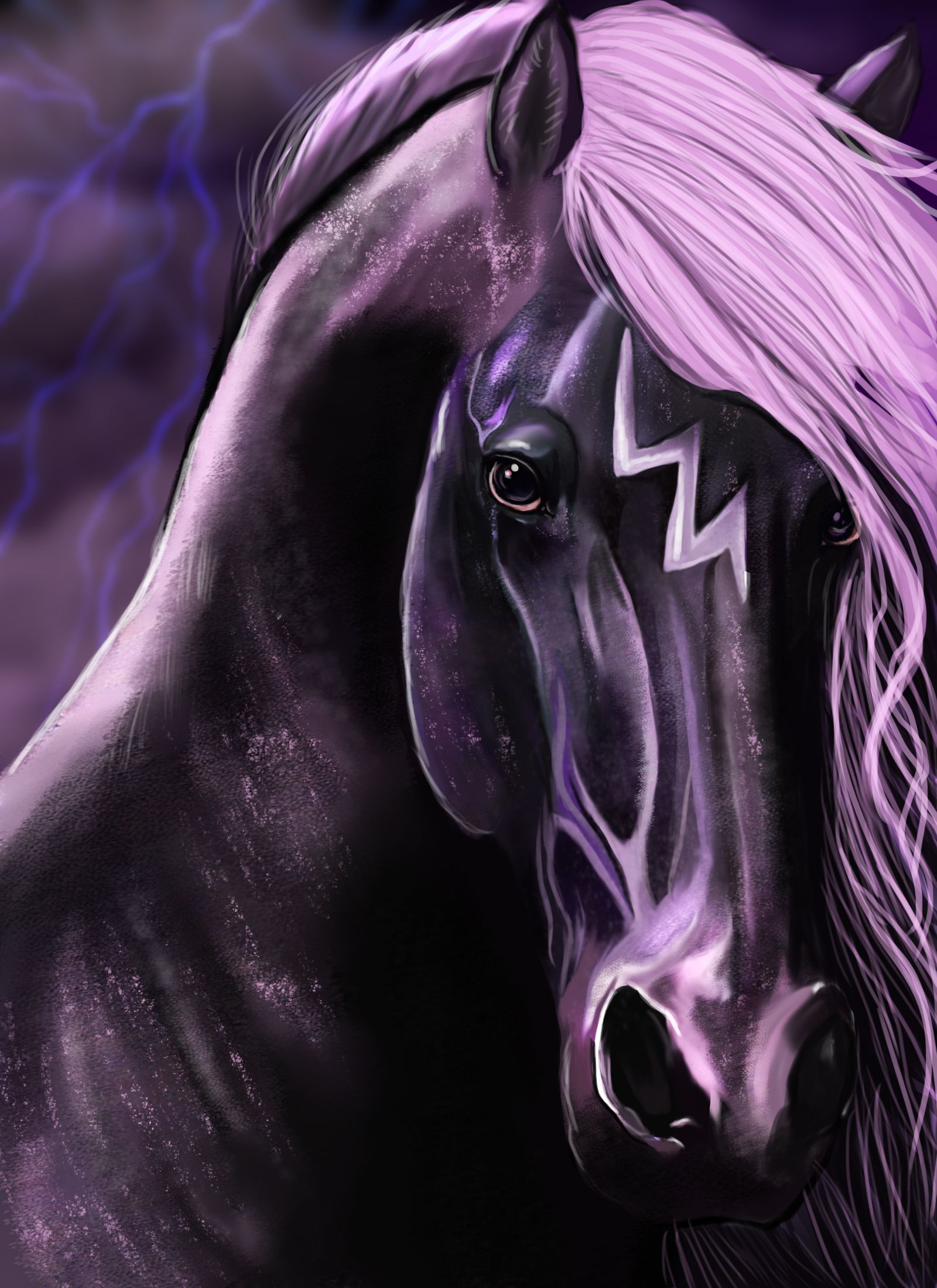Image result for anime purple horse