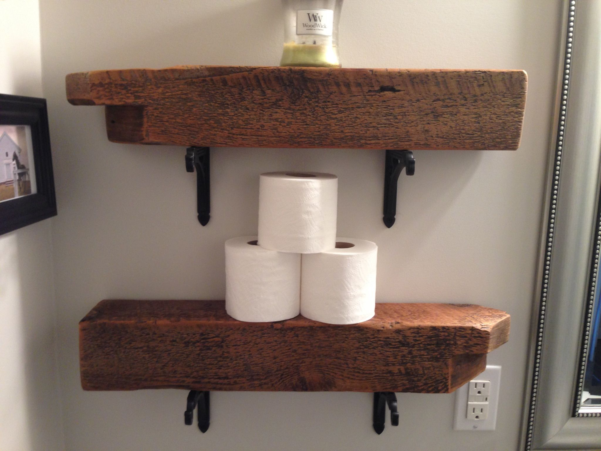 Small Shelves Made Using Barnboardstore Com Reclaimed 4x4 Barn Beam Wind Braces Barn Board Headboard Barn Beams Barn Board