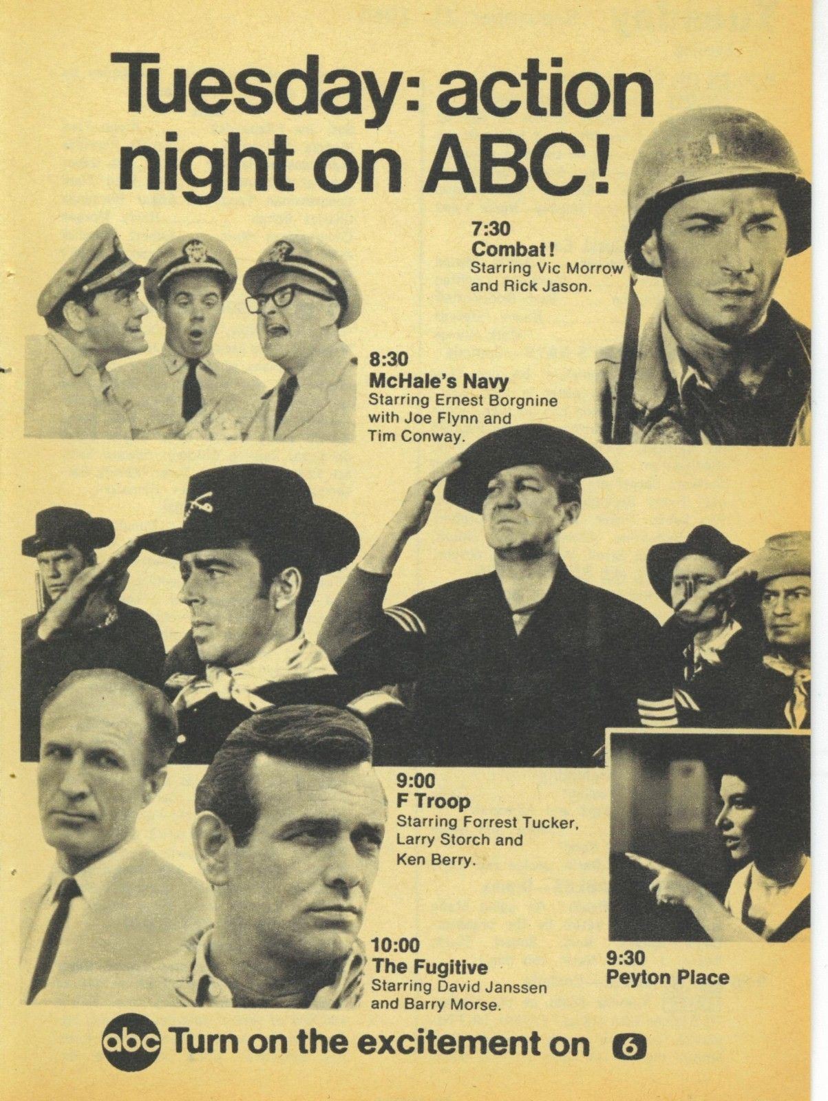 1965 TV Guide Ad Combat McHales Navy F Troop The Fugitive Peyton Place ABC