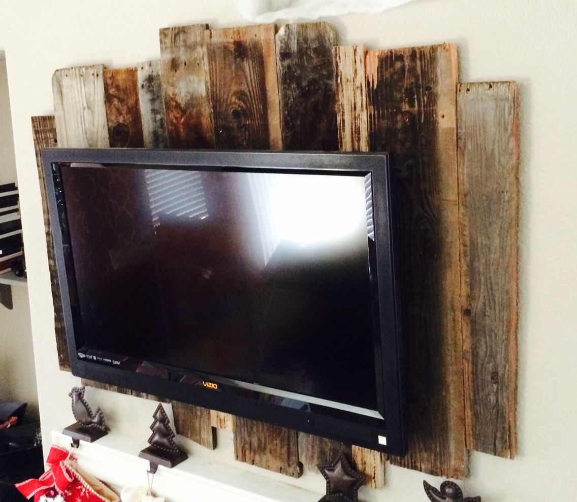 Rustic Tv Wall Panel Made From Fence And Barn Wood Wall Mounted