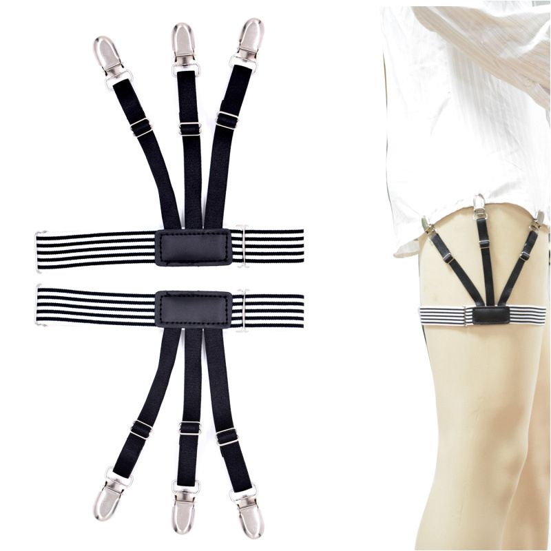 df55d5a92be Find More Garters Information about Black white Stripes Mens Shirt Stays  Garters Elastic Nylon Adjustable Shirt Holders Crease Resistance Belt  Stirrup ...