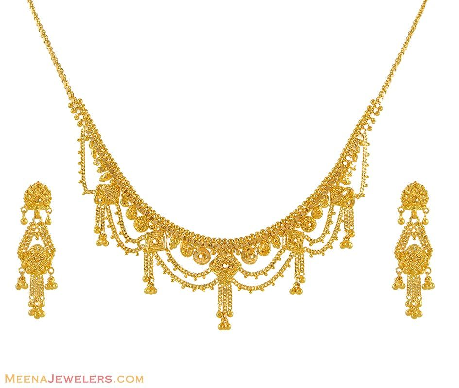 Indian Gold Necklace Set In 22k 22 Kt Gold Sets Pictures to pin on ...