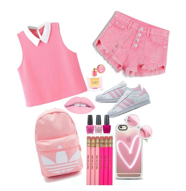 """""""Pretty in pink 🎀💕"""" by ashleyhughesbeauty ❤ liked on Polyvore featuring Casetify, adidas Originals, ZeroUV, OPI and Victoria's Secret"""