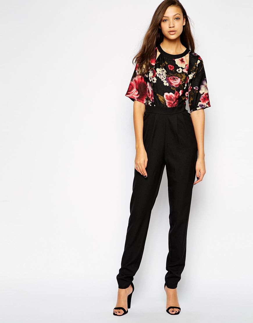 Girls On Film Tall Textured Floral 2 In 1 Jumpsuit Clothes