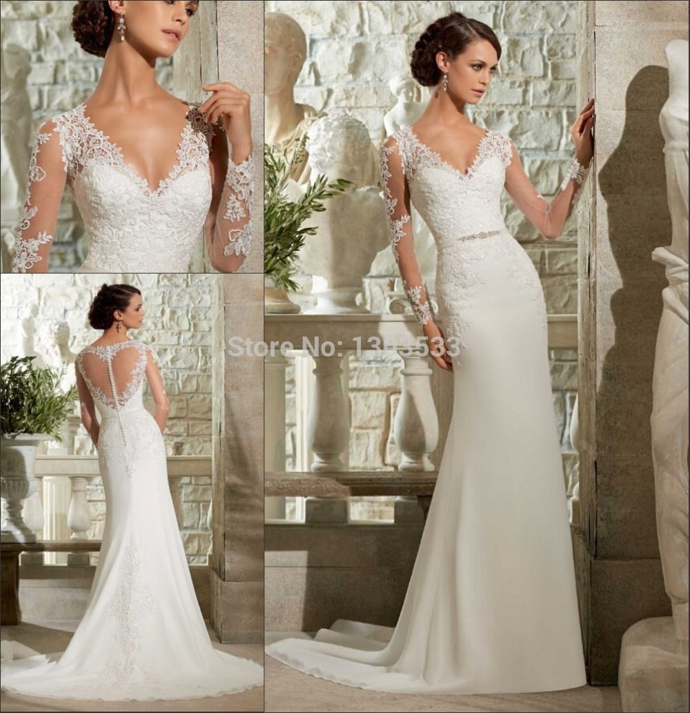 Find More Wedding Dresses Information About New Arrival V Neck Top Lace With Beading Belt SeeThrough