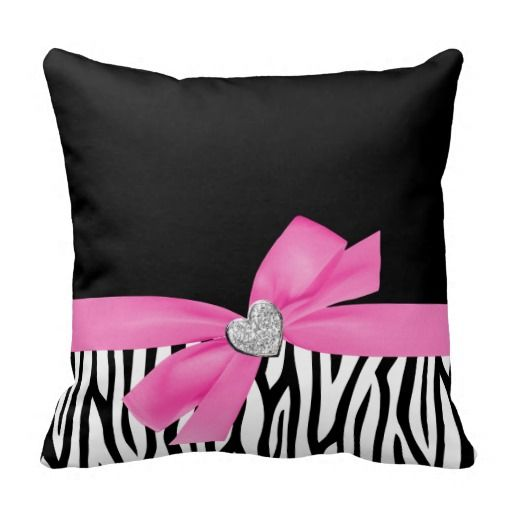Zebra Pink Bow Diamond Heart Throw Pillow Zazzle Com Pillows Zebra Bedroom Designer Throw Pillows