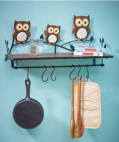 Owl Kitchen Wall Shelf Bird Decor Metal Pot Holder