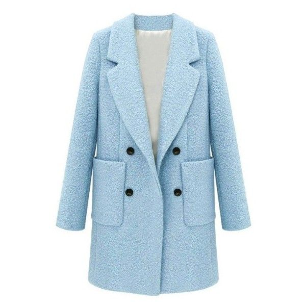 Double Breasted Patch Pocket Boucle Coat (€61) ❤ liked on Polyvore featuring outerwear, coats, jackets, blue, boucle coat, double-breasted coat, blue double breasted coat, blue coat and double breasted bouclé coat