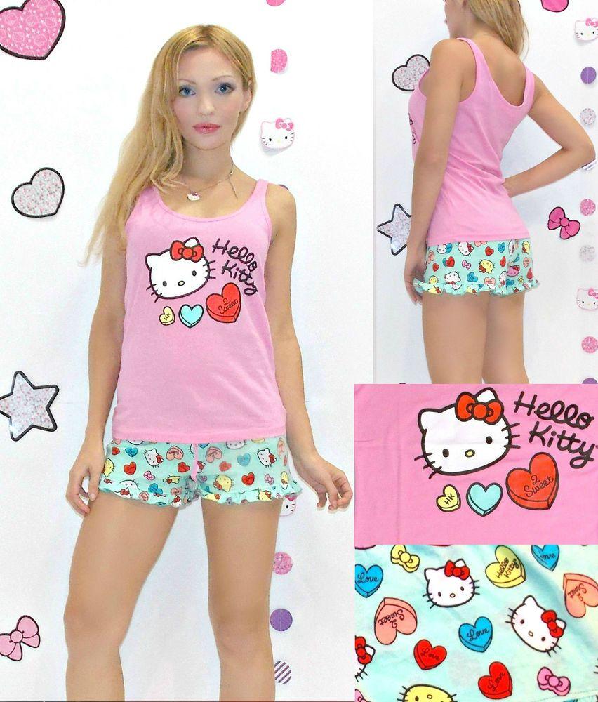 f93461e30 NWT Sanrio Hello Kitty 'Candy Hearts' Top and Shorts Pajama Set S,M,L,XL  #SanrioHelloKitty #TankTopandShortsPJset