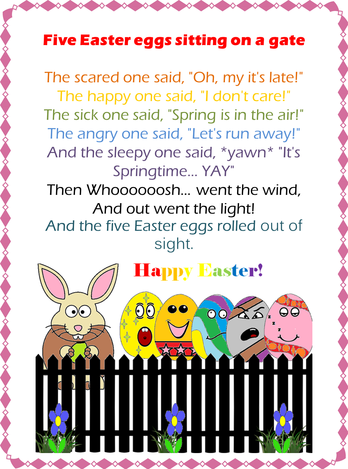 Esl Efl Preschool Teachers Fingerplays For Easter