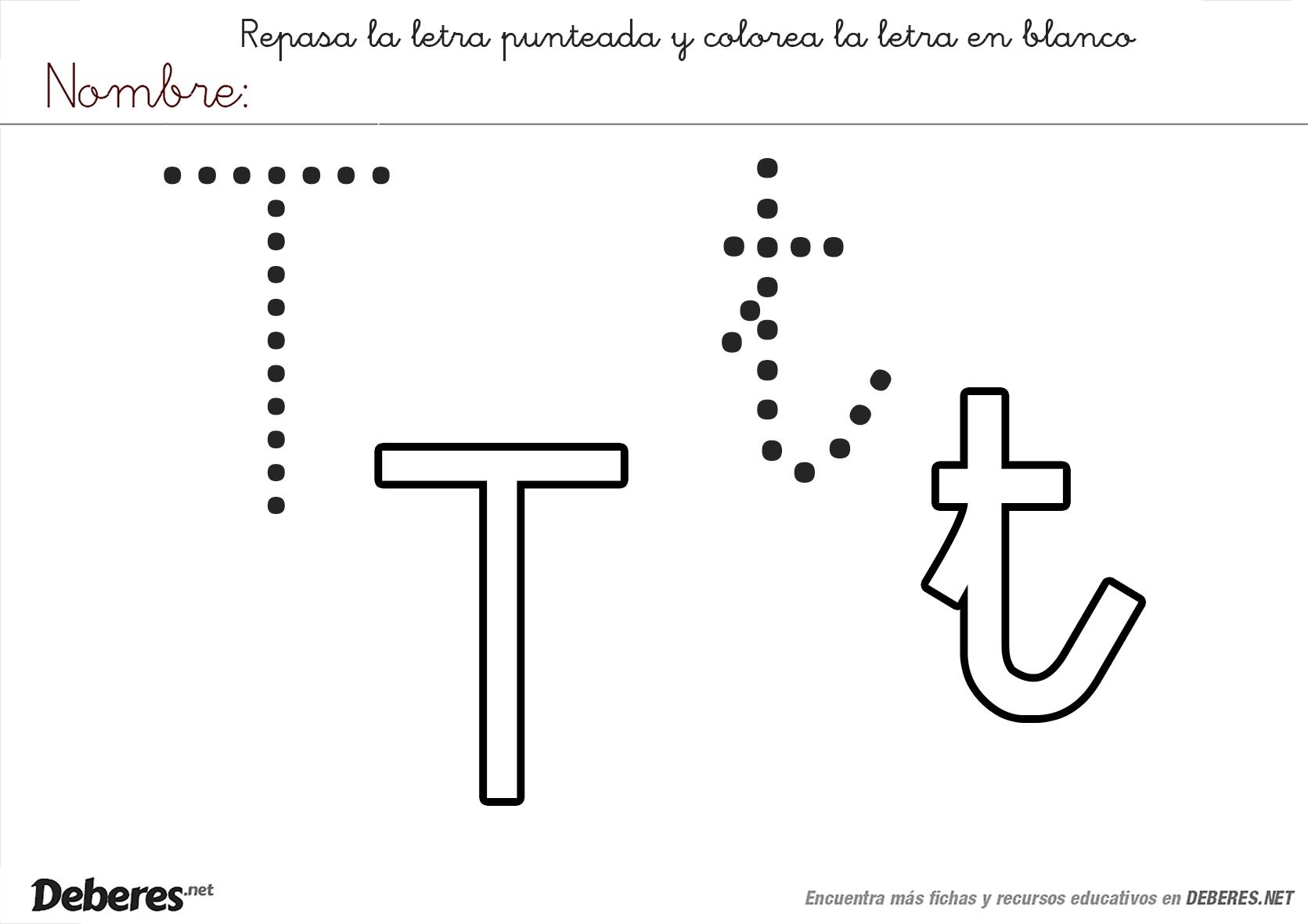 Ficha Para Colorear De La Letra T Educación Fichas