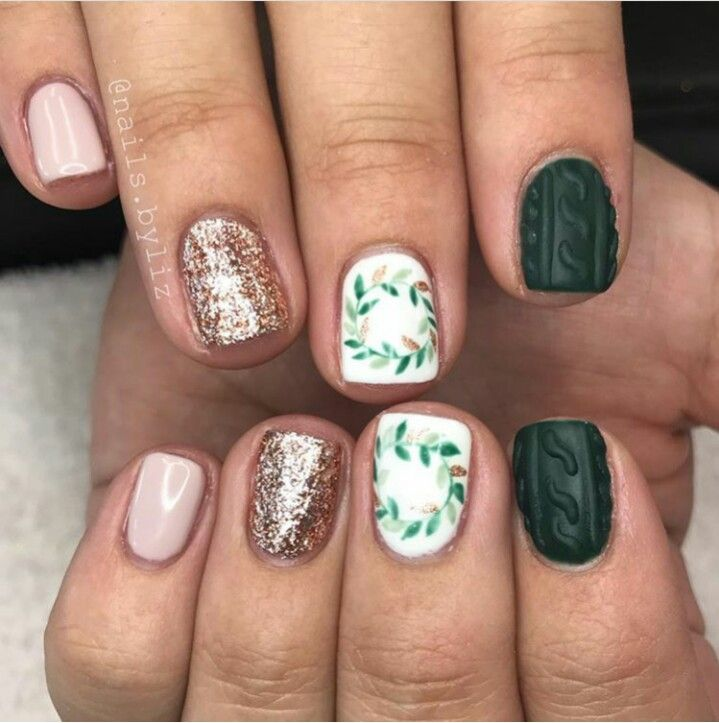 Holiday Nails Hours: Pink, Rose Gold Glitter, White Leaves Design Nails