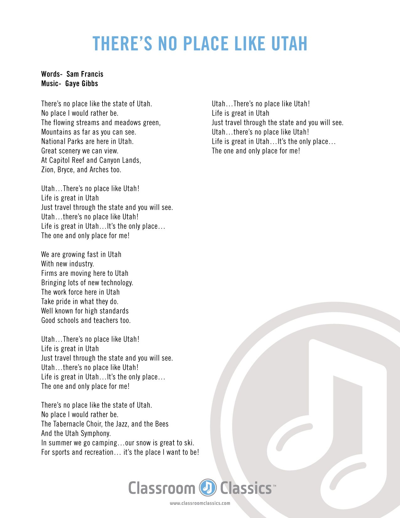 There S No Place Like Utah Lyric Sheet History Word Utah Songs