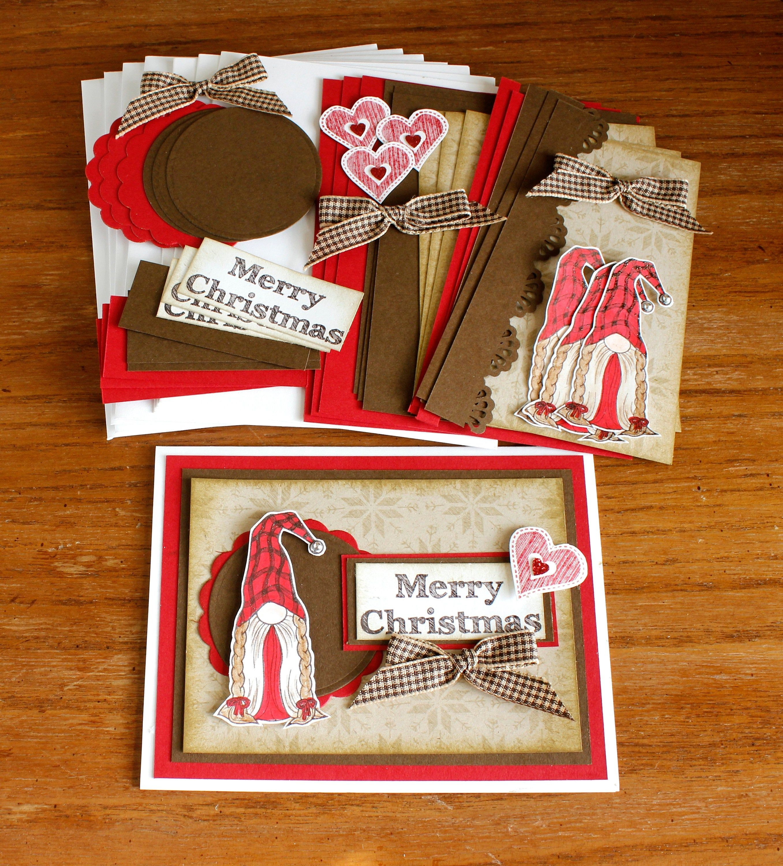 Diy Christmas Gnome Kit Christmas Cards Merry Christmas Etsy Handmade Card Kits Cute Christmas Cards Christmas Gnome