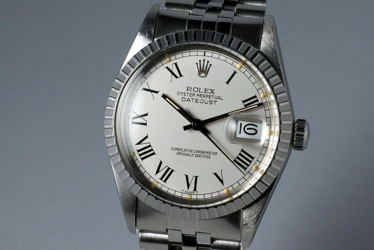c2e45f1cdfc51 1986 Rolex DateJust 16030 Service Case with Silver Buckley Dial photo