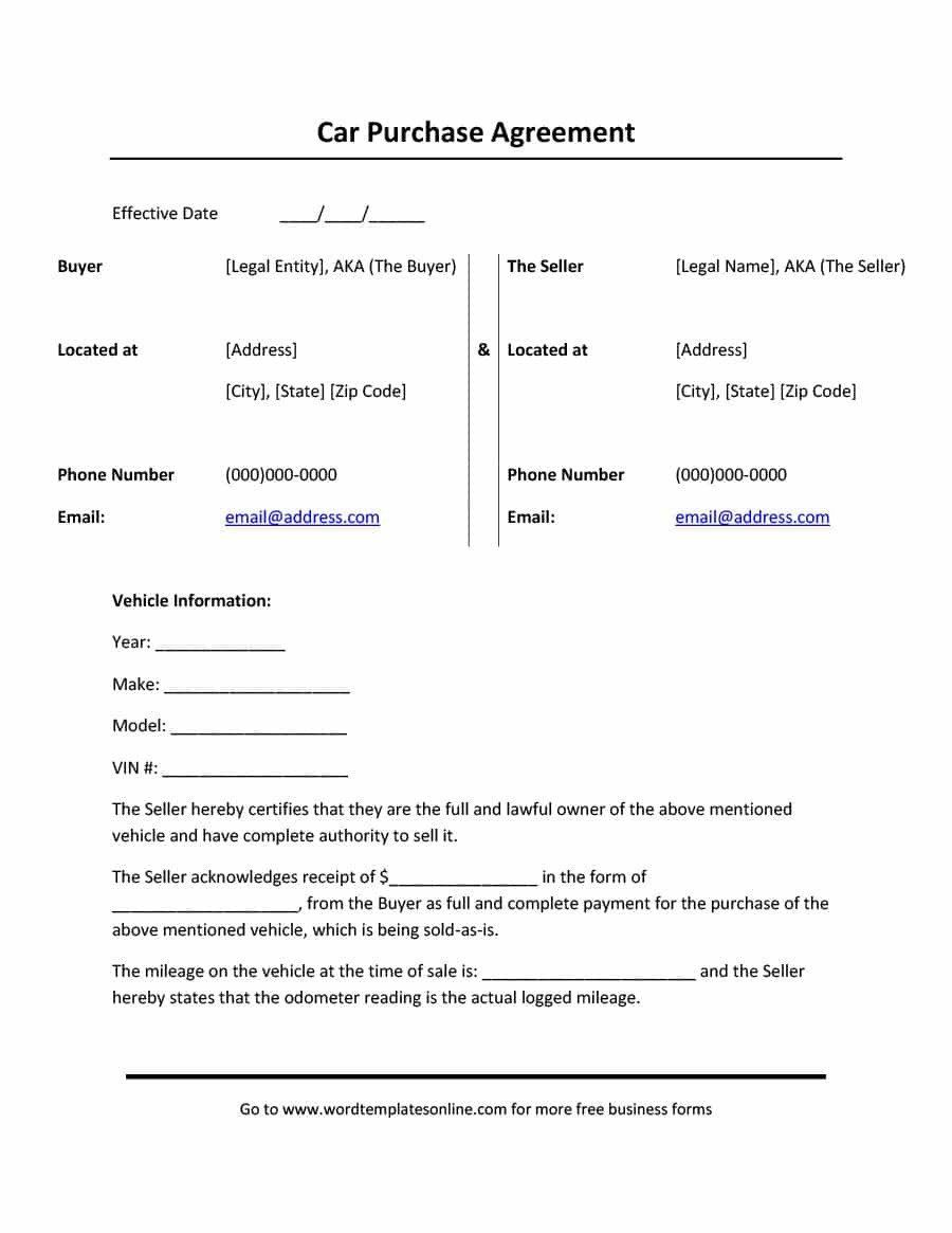 Free Printable Purchase Agreement Forms Elegant 42 Printable Vehicle Purchase Agreement Templates Car Payment Car Purchase Contract Template