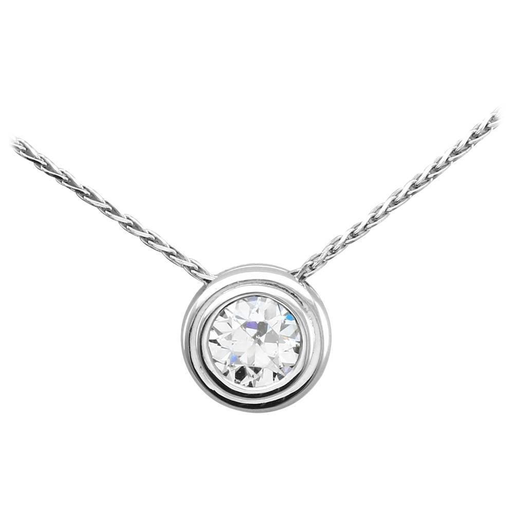 Bezel set diamond gold solitaire necklace vintage fashion