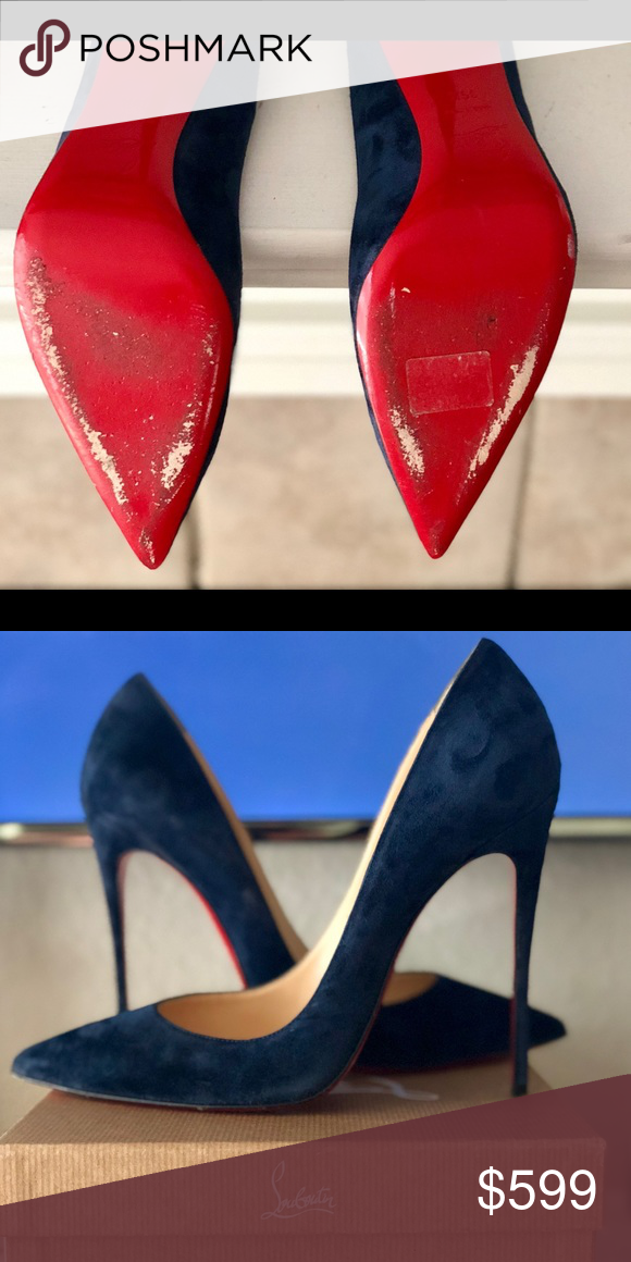cheap for discount cde9c adb54 Christian Louboutin- So Kate So Kate navy blue suede 120mm ...