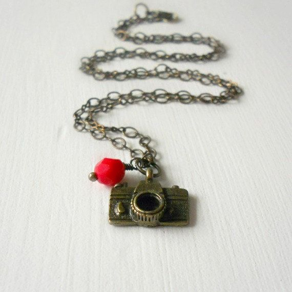 Camera Necklace on Antique Brass